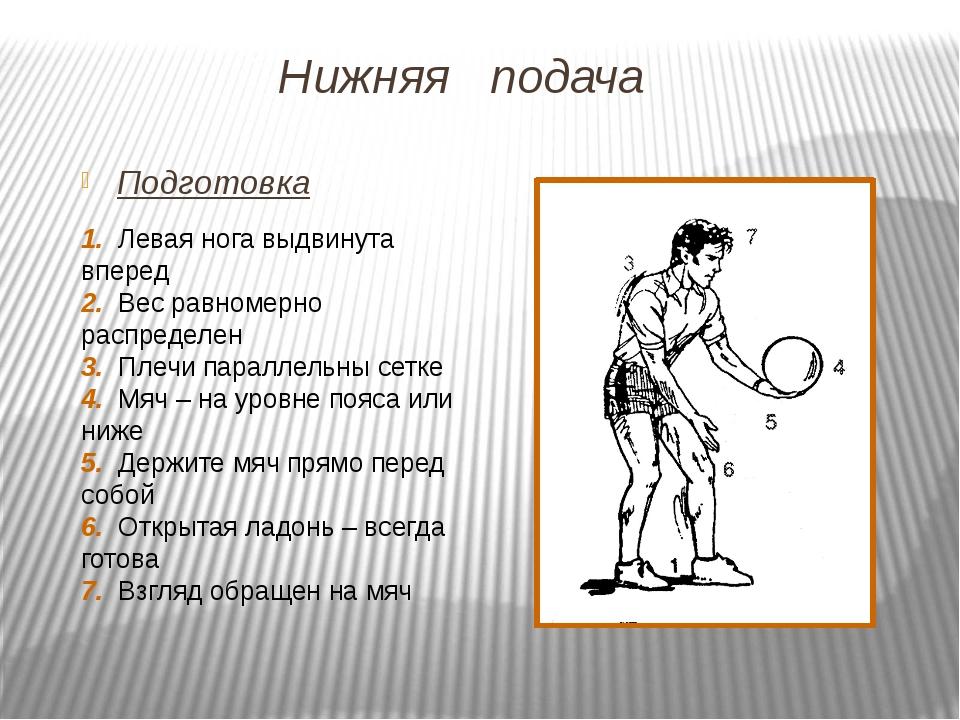Нижняя подача Подготовка 1. Левая нога выдвинута вперед 2. Вес равномерно рас...