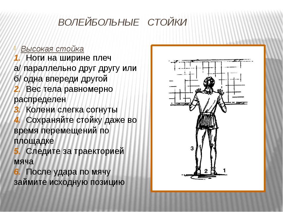 ВОЛЕЙБОЛЬНЫЕ СТОЙКИ Высокая стойка 1. Ноги на ширине плеч а/ параллельно друг...