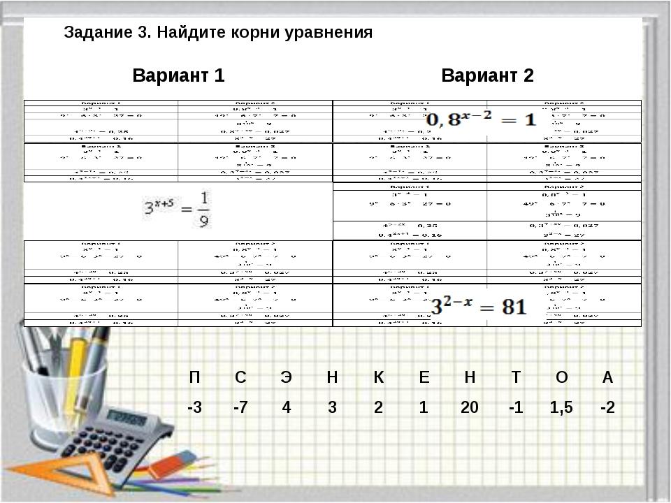 Задание 3. Найдите корни уравнения Вариант 1 Вариант 2 П С Э Н К Е Н Т О А -3...