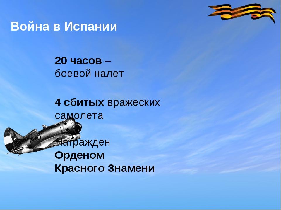 Война в Испании 20 часов – боевой налет 4 сбитых вражеских самолета Награжден...