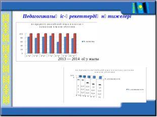 Педагогикалық іс-әрекеттердің нәтижелері 2013 — 2014 оқу жылы