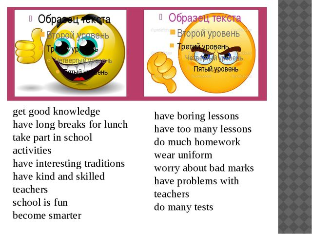 get good knowledge have long breaks for lunch take part in school activities...