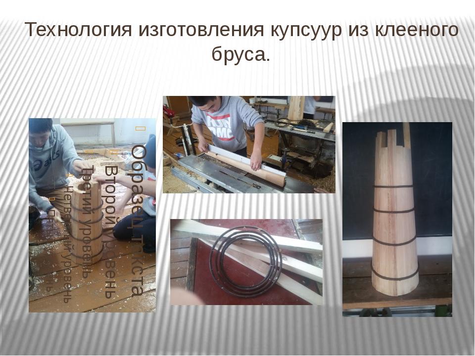 Технология изготовления купсуур из клееного бруса.