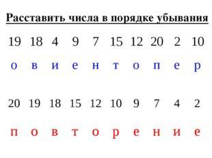 Расставить числа в порядке убывания 1918497151220210 овиенто