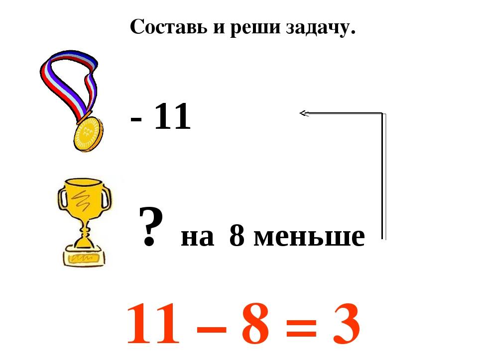 11 – 8 = 3 Составь и реши задачу. ? на 8 меньше - 11