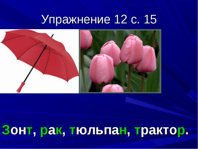 Упражнение 12 с. 15 Зонт, рак, тюльпан, трактор.