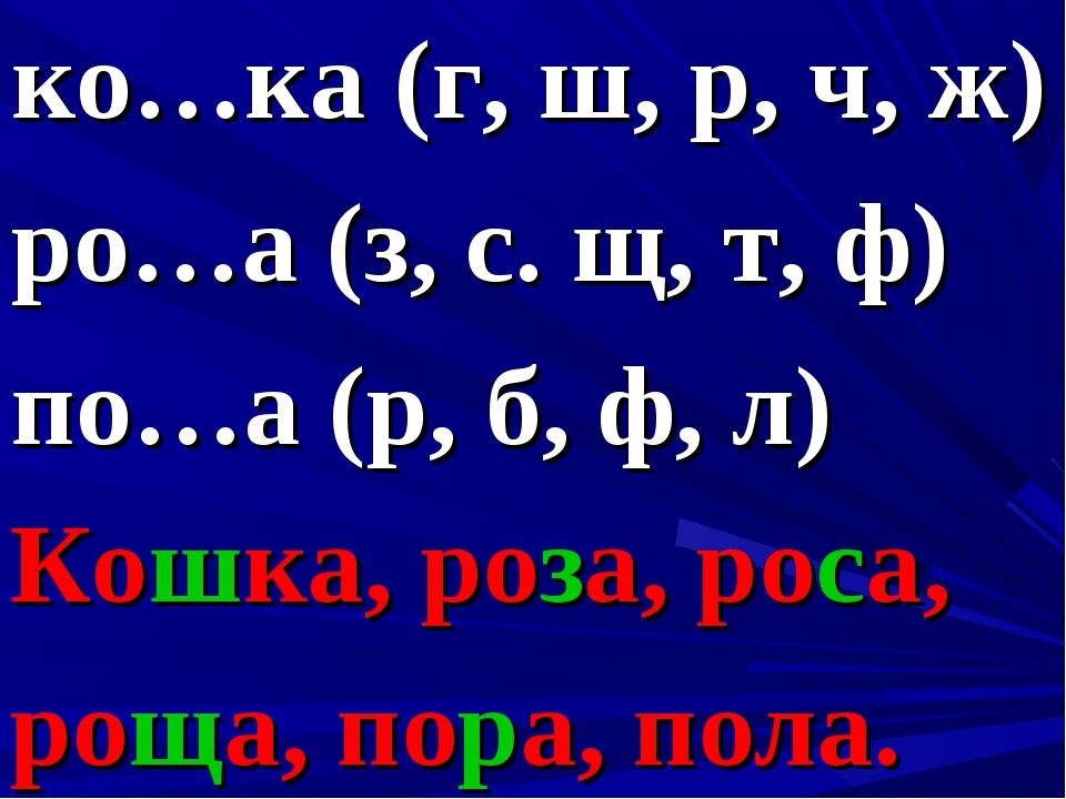 ко…ка (г, ш, р, ч, ж) ро…а (з, с. щ, т, ф) по…а (р, б, ф, л) Кошка, роза, рос...