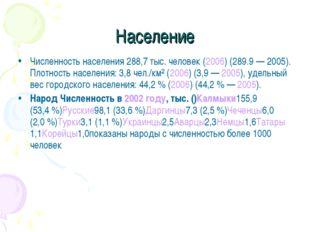 Население Численность населения 288,7 тыс. человек (2006) (289.9— 2005). Пло