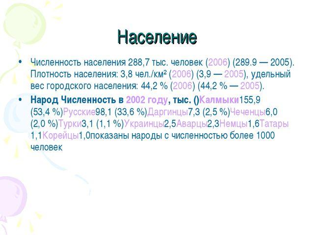 Население Численность населения 288,7 тыс. человек (2006) (289.9— 2005). Пло...