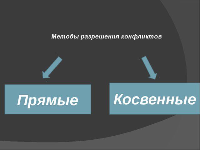 Методы разрешения конфликтов Прямые Косвенные