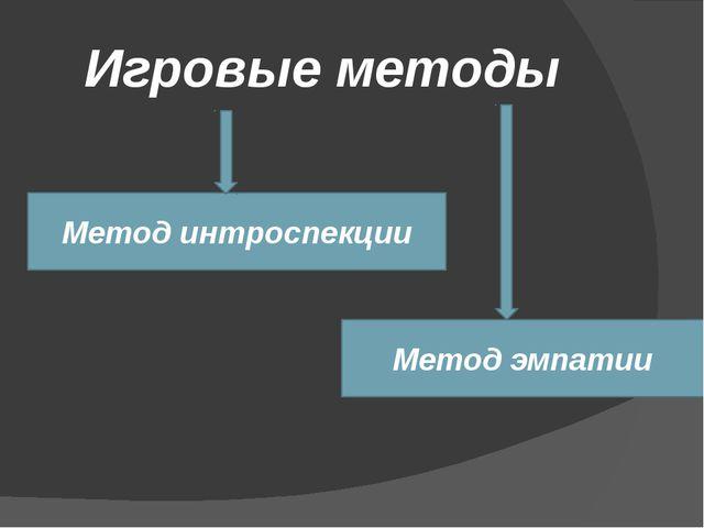 Игровые методы Метод интроспекции Метод эмпатии