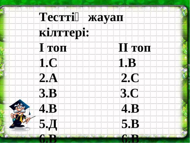 Тесттің жауап кілттері: І топ ІІ топ 1.С 1.В 2.А 2.С 3.В 3.С 4.В 4...