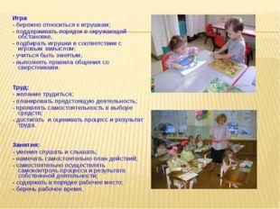 Игра - бережно относиться к игрушкам; - поддерживать порядок в окружающей об