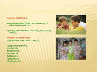 Внешние проявления: - манера поведения (дома, в детском саду, в общественных