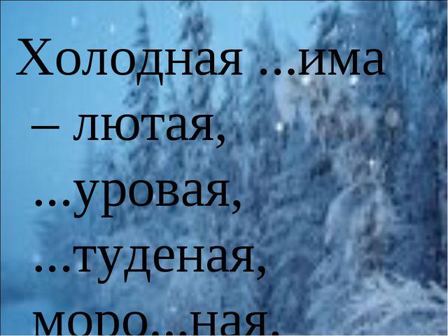 Холодная ...има – лютая, ...уровая, ...туденая, моро...ная.