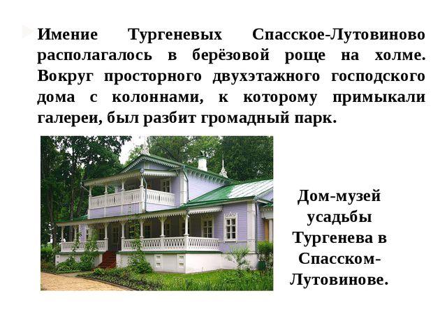 Имение Тургеневых Спасское-Лутовиново располагалось в берёзовой роще на холме...