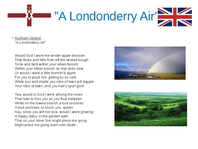 """""""A Londonderry Air"""" Northern Ireland """"A Londonderry Air"""" Would God I were th..."""