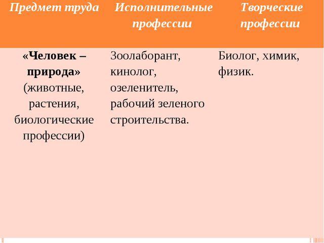 Предмет труда Исполнительные профессии Творческие профессии «Человек – прир...