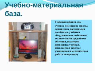 Учебно-материальная база. Учебный кабинет-это учебное помещение школы, оснаще