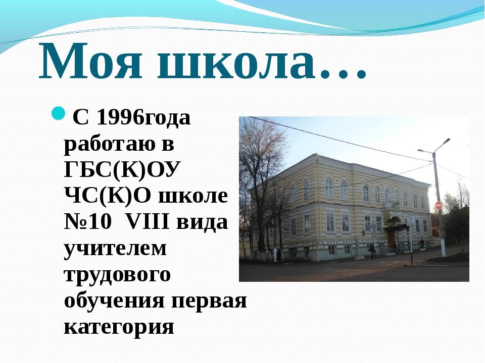 Моя школа… С 1996года работаю в ГБС(К)ОУ ЧС(К)О школе №10 VIII вида учителем...