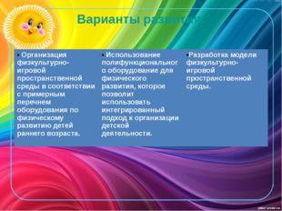 Варианты развития: Организация физкультурно-игровой пространственной среды в