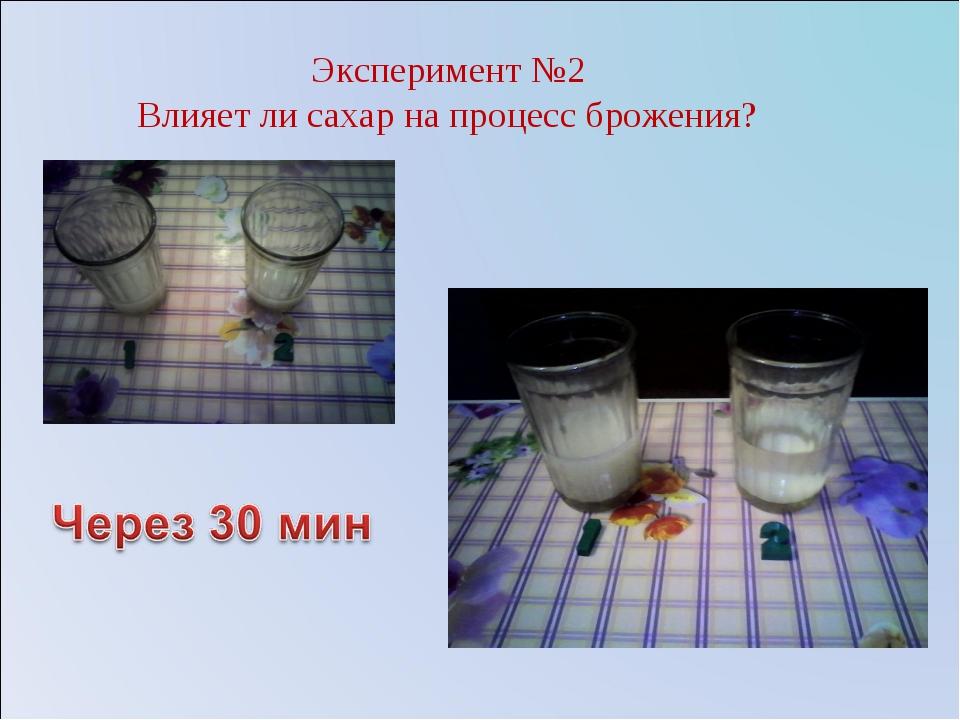 Эксперимент №2 Влияет ли сахар на процесс брожения?