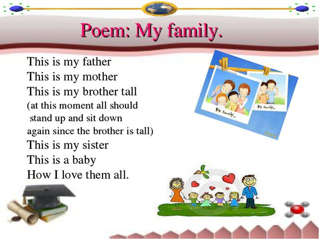 Poem: My family. This is my father This is my mother This is my brother tall...