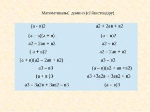 Математикалық домино (сәйкестендіру) (а - в)2 а2+ 2ав + в2 (а – в)(а + в) (а