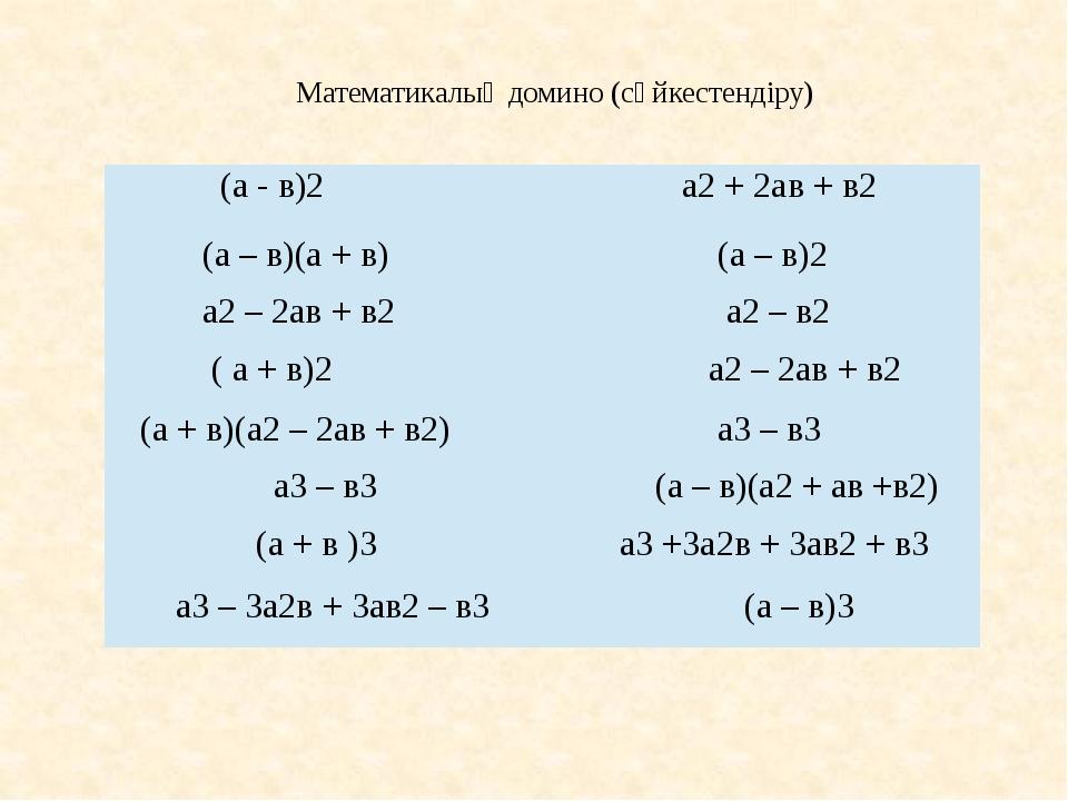 Математикалық домино (сәйкестендіру) (а - в)2 а2+ 2ав + в2 (а – в)(а + в) (а...