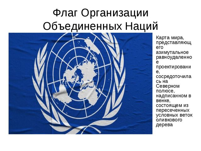 Флаг Организации Объединенных Наций Карта мира, представляющего азимутальное...