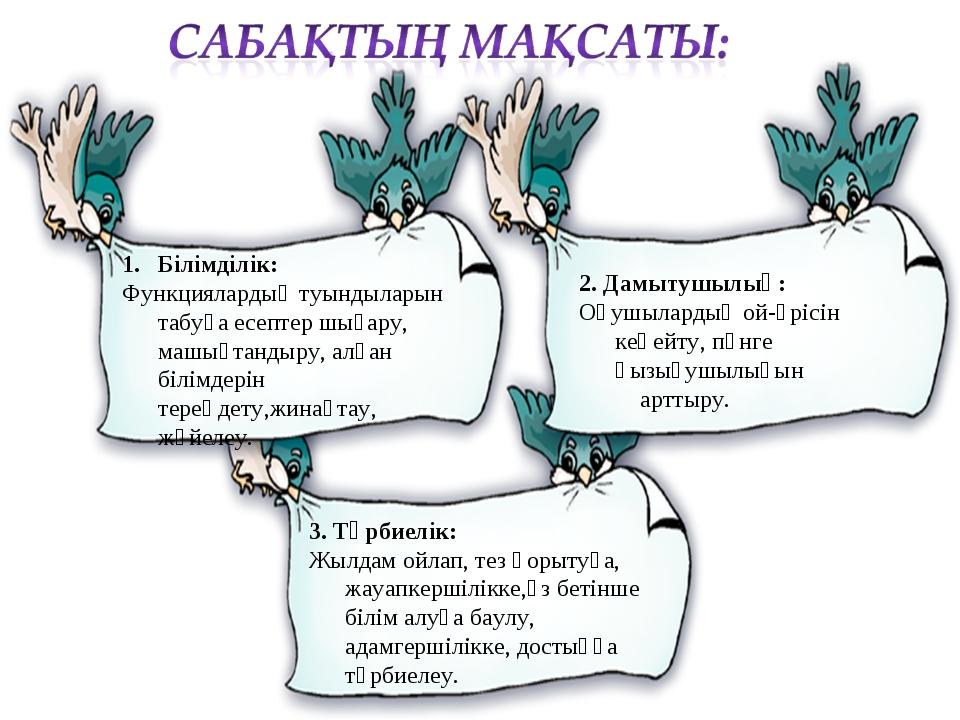 Білімділік: Функциялардың туындыларын табуға есептер шығару, машықтандыру, ал...