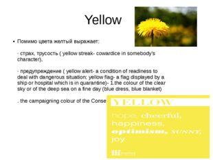 Yellow Помимо цвета желтый выражает: ·страх,трусость( yellow streak- cowar