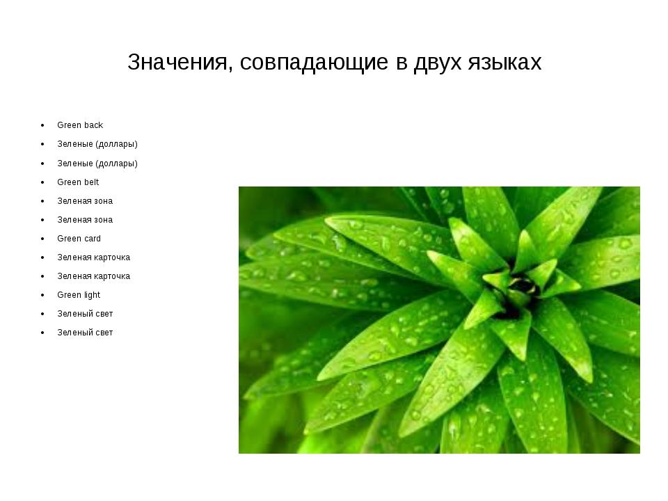 Значения, совпадающие в двух языках Greenback Зеленые (доллары) Зеленые (до...