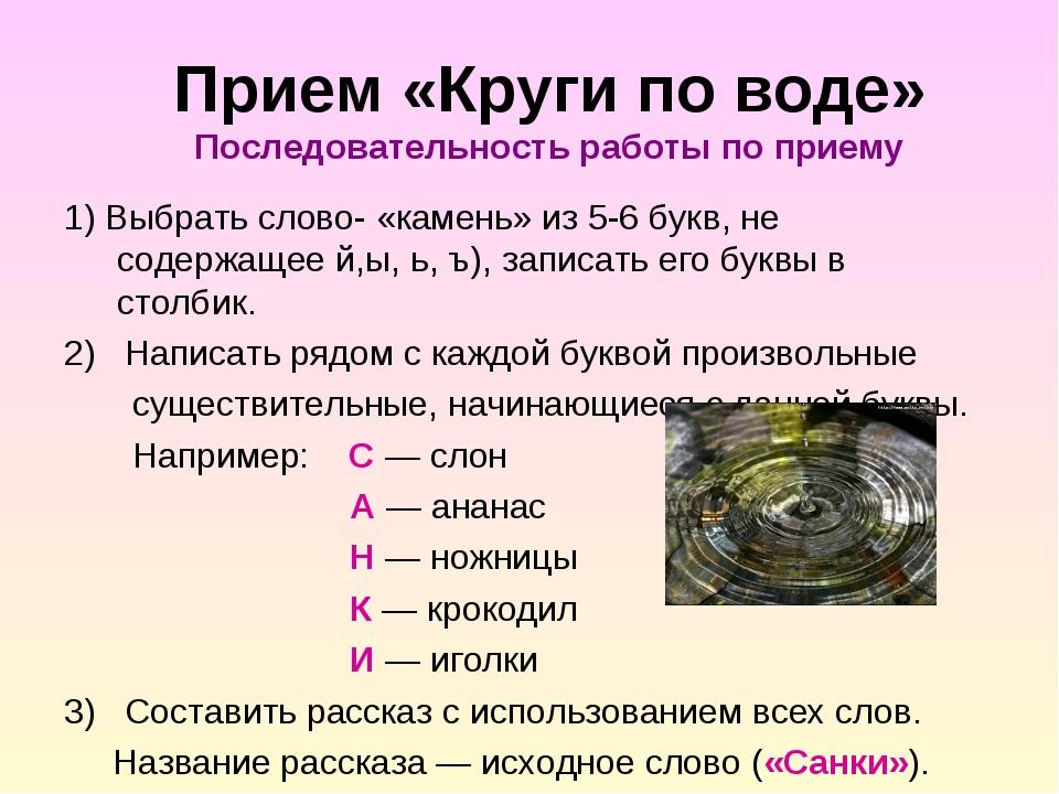 Прием «Круги по воде» Последовательность работы по приему 1) Выбрать слово-...