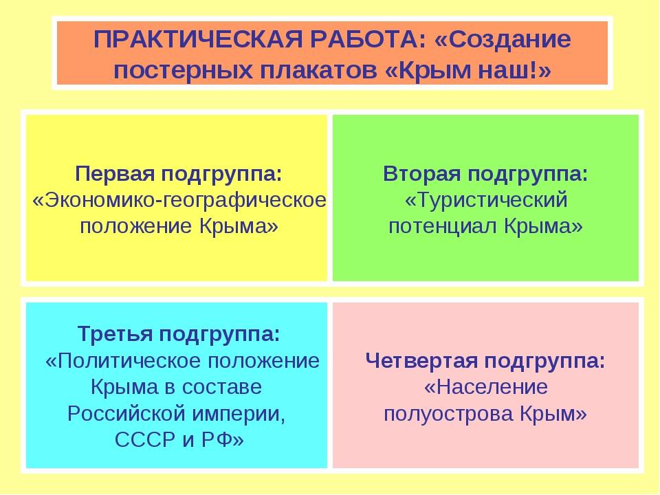 ПРАКТИЧЕСКАЯ РАБОТА: «Создание постерных плакатов «Крым наш!» Первая подгрупп...