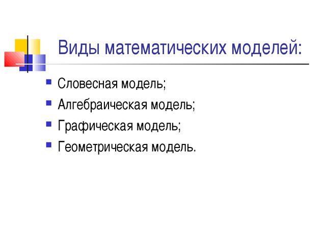 Виды математических моделей: Словесная модель; Алгебраическая модель; Графиче...
