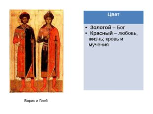 Борис и Глеб Цвет Золотой–Бог Красный– любовь,жизнь; кровь и мучения