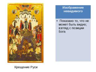 Крещение Руси Изображение невидимого Показано то, что не может быть видно; вз