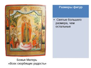 Божья Матерь «Всех скорбящих радость» Размеры фигур Святые большего размера,