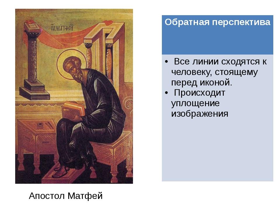 Апостол Матфей Обратная перспектива Все линии сходятся к человеку, стоящему п...