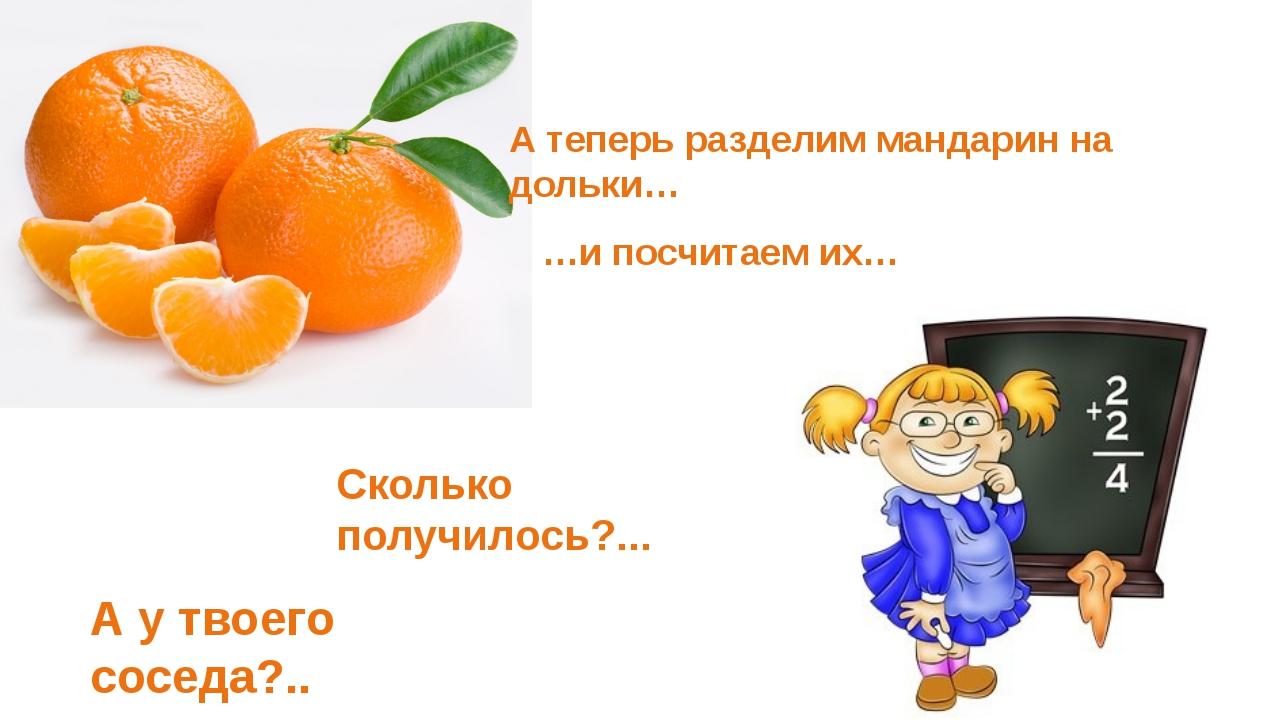 А теперь разделим мандарин на дольки… …и посчитаем их… Сколько получилось?......