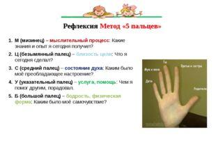 Рефлексия Метод «5 пальцев» М (мизинец) – мыслительный процесс: Какие знания