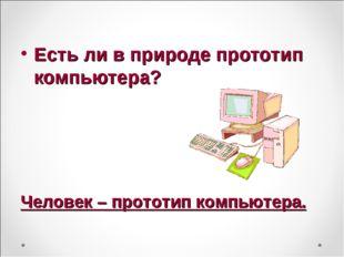 Есть ли в природе прототип компьютера? Человек – прототип компьютера.