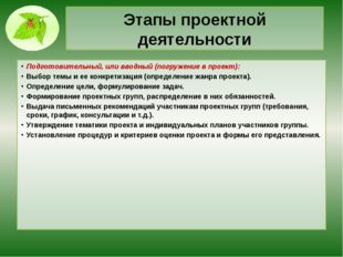 Этапы проектной деятельности Подготовительный, или вводный (погружение в прое