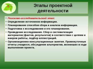 Этапы проектной деятельности Поисково-исследовательский этап: Определение ист