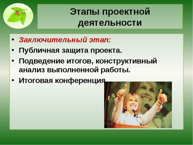Этапы проектной деятельности Заключительный этап: Публичная защита проекта. П...