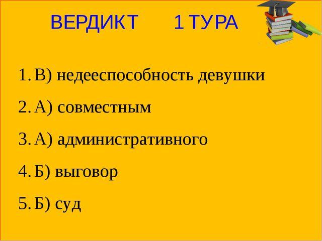 ВЕРДИКТ 1 ТУРА В) недееспособность девушки А) совместным А) административного...