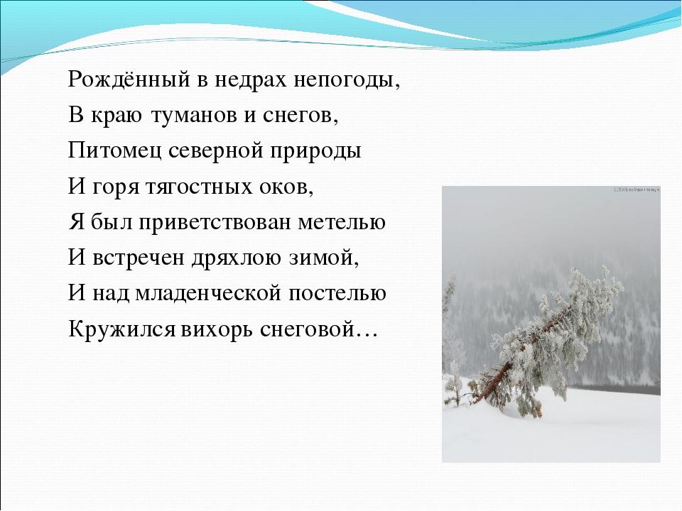 Рождённый в недрах непогоды, В краю туманов и снегов, Питомец северной приро...