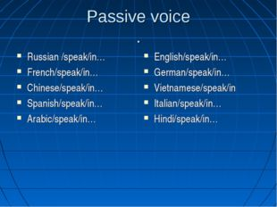 Passive voice . Russian /speak/in… French/speak/in… Chinese/speak/in… Spanish
