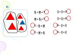 б) Б + М = Т М + Б = Т Т – Б = М Т – М = Б 2 + 3 = 5 3 + 2 = 5 5 – 2 = 3 5 –